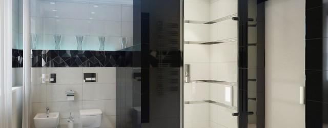 черно-белая ванная комната в стиле хай-тек