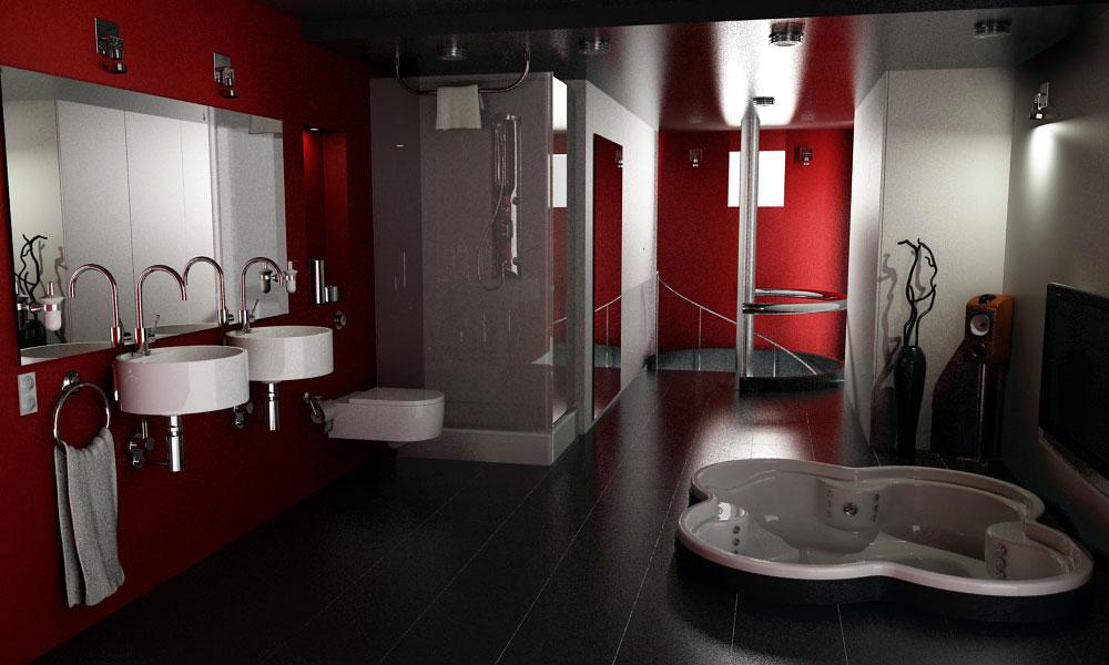 черно-красная ванная комната