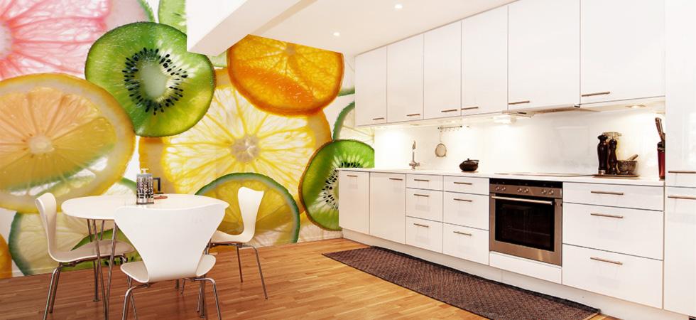 фотообои с едой для просторной кухни