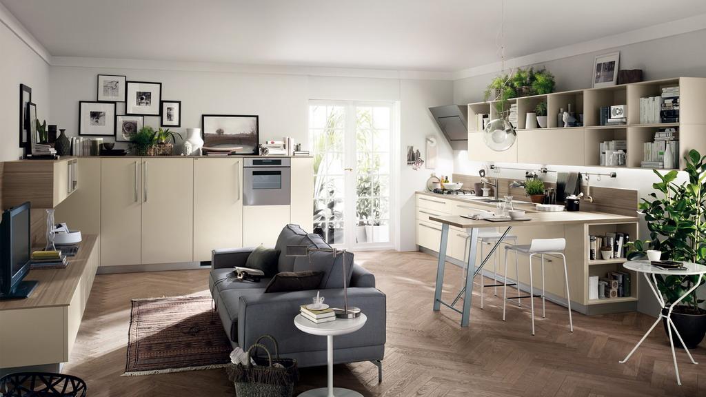 гостиная объединенная с кухней