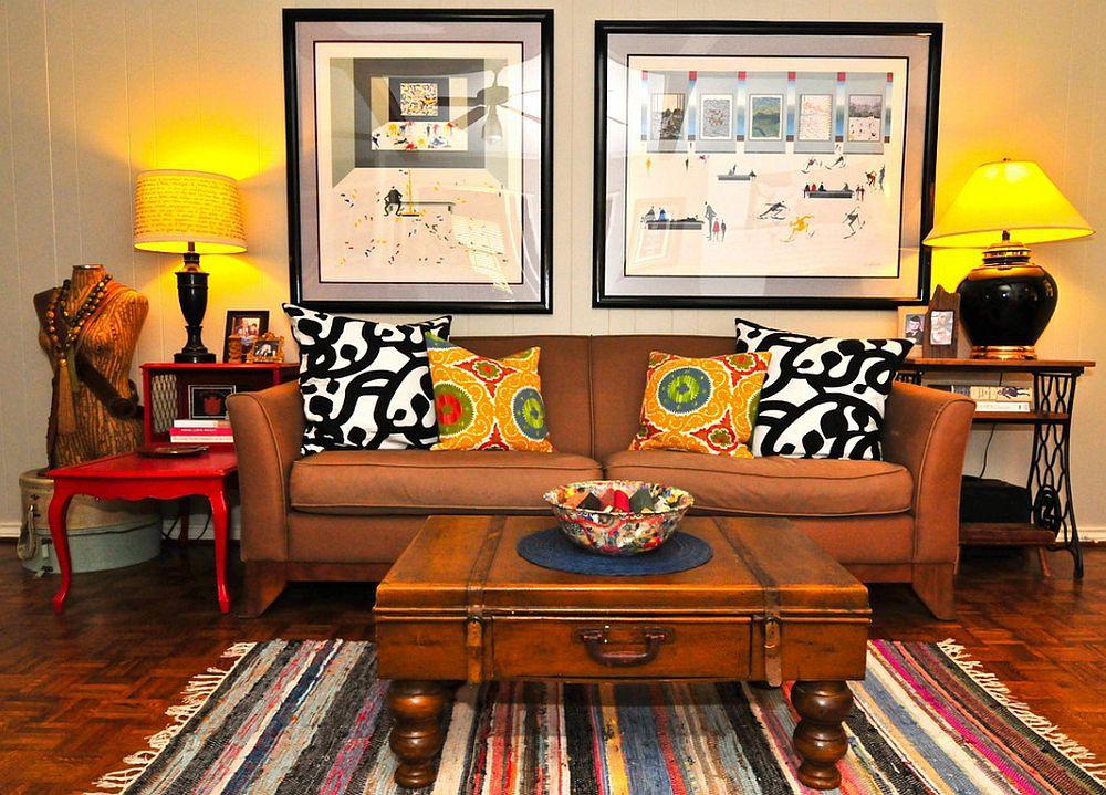 гостиная в стиле бохо с картинами