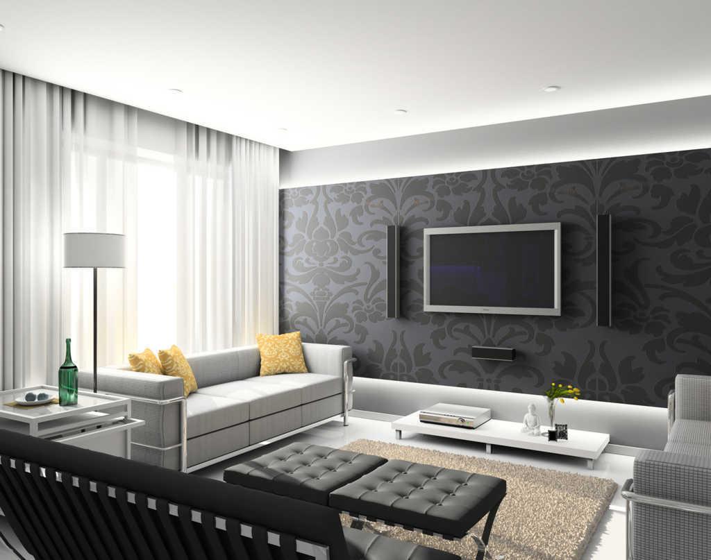 гостиная в стиле модерн с черными обоями