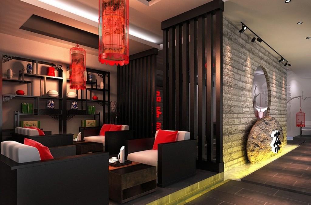 интерьер в китайском стиле красного цвета