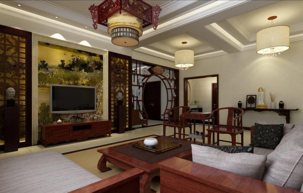 интерьер в китайском стиле с низкой мебелью