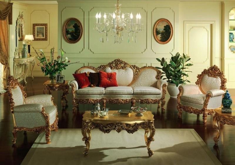 интерьер в стиле ампир с массивной мебелью