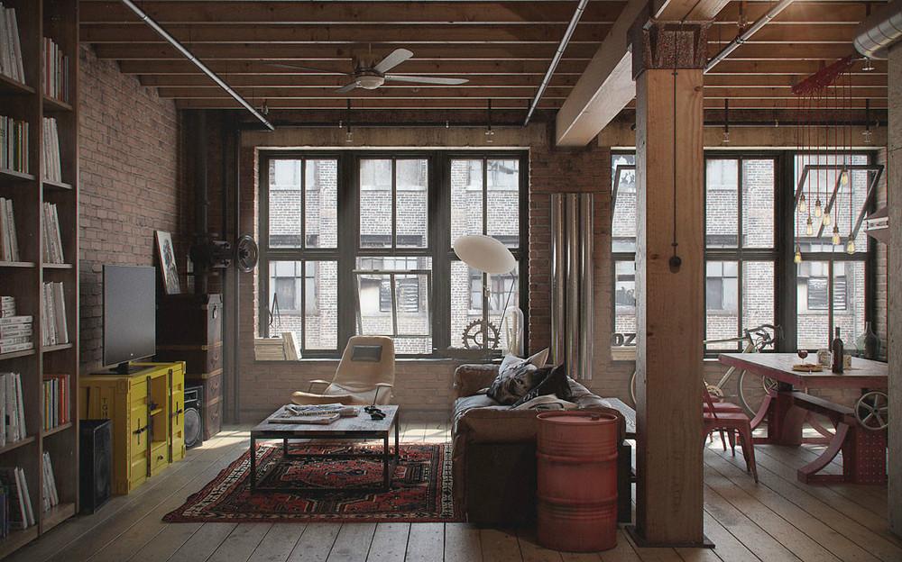 комната в стиле гранж со старой мебелью