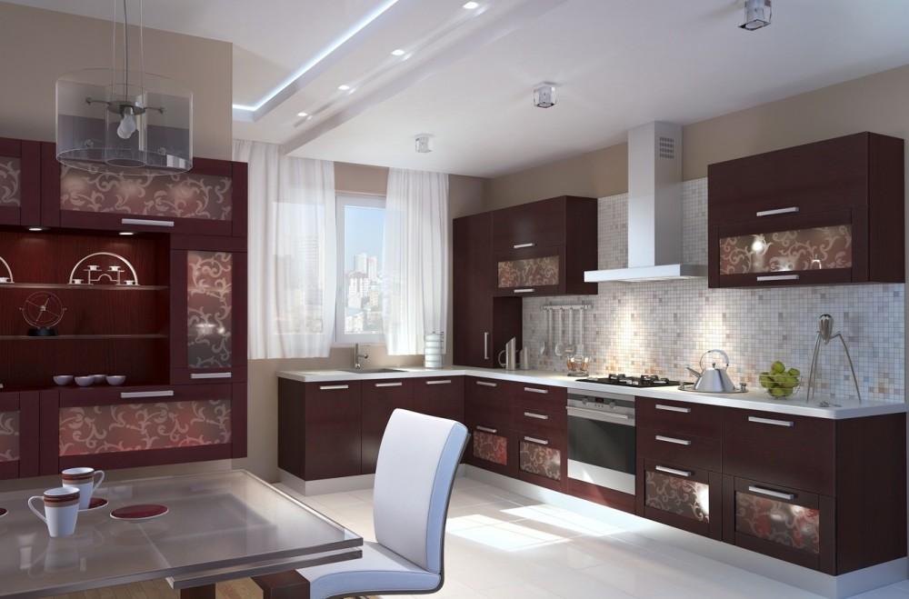 кухня в стиле хай-тек с полупрозрачными шторами