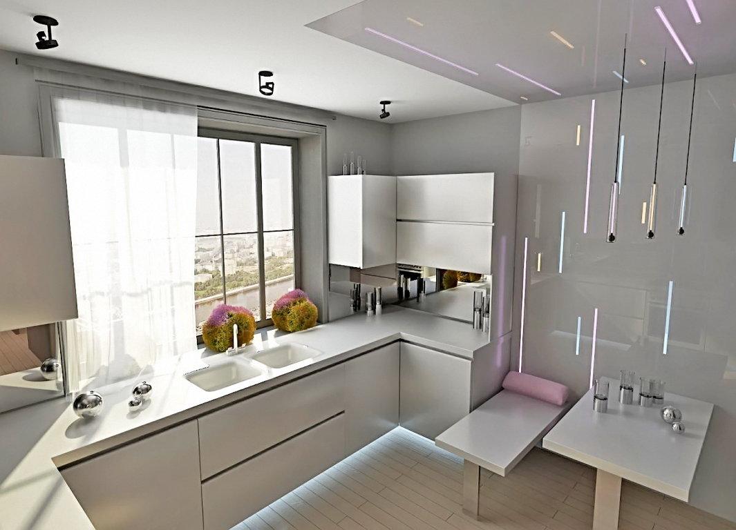 небольшая кухня с прозрачными занавесками