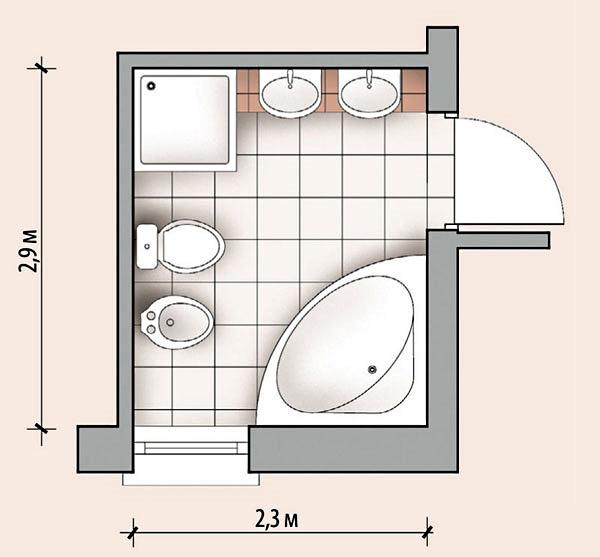 пример планировки ванной комнаты