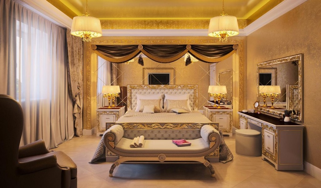 спальня в стиле ампир c зеркалами
