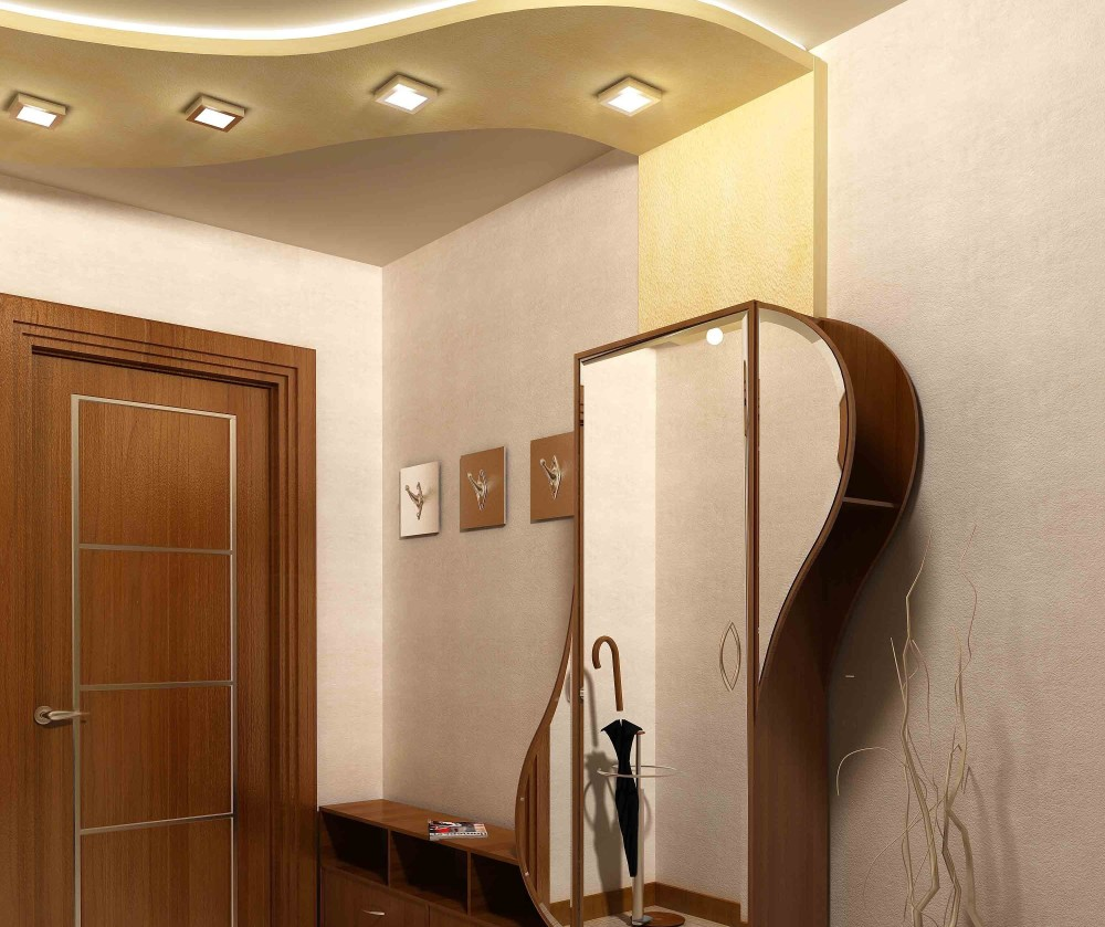 узкая прихожая с панельными светильниками