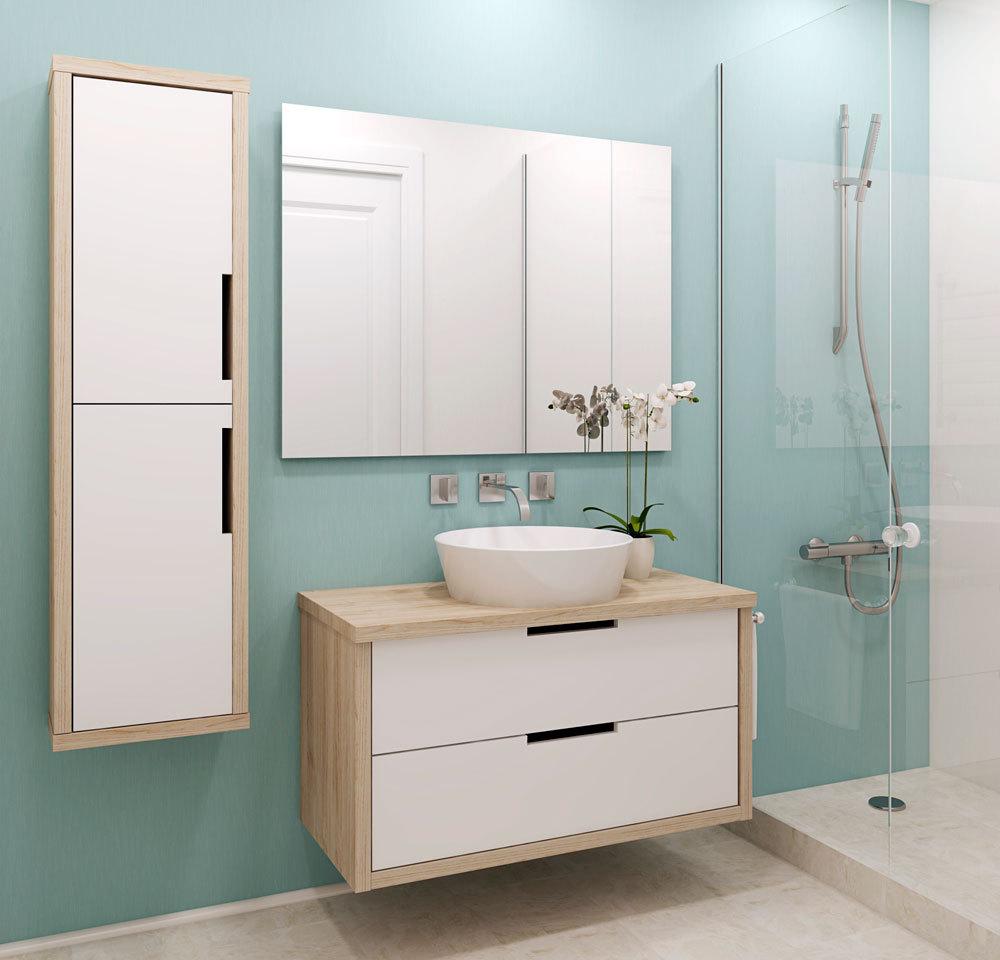 ванная комната со шкафчиком под раковиной