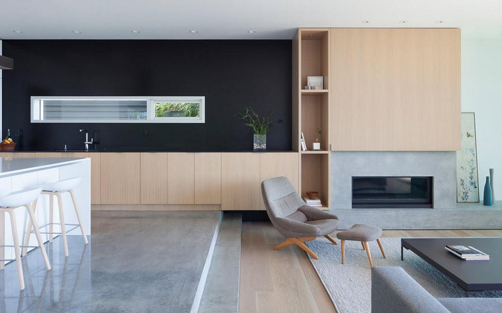 зонирование кухни и гостиной с помощью подиума