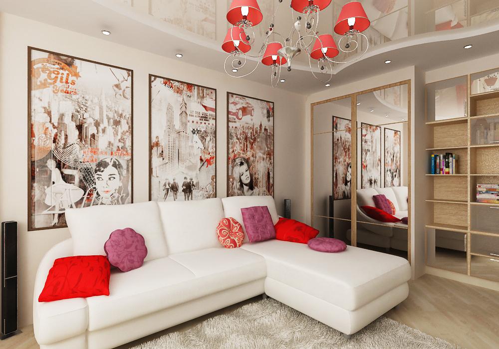дизайн маленькой гостиной с яркими подушками