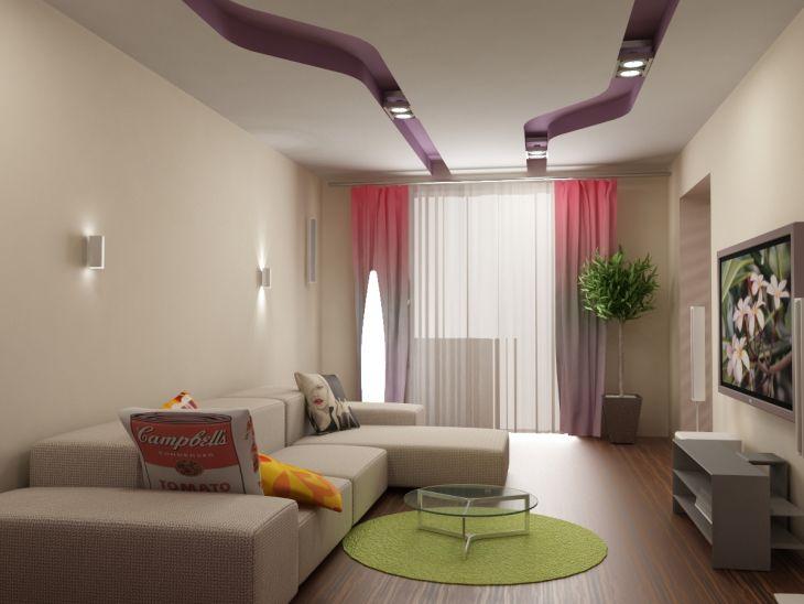дизайн маленькой гостиной в светлых тонах