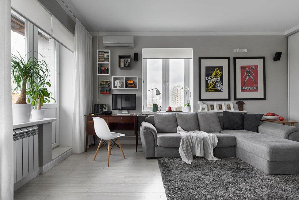 дизайн однокомнатной квартиры 30 кв. м. в светлых тонах