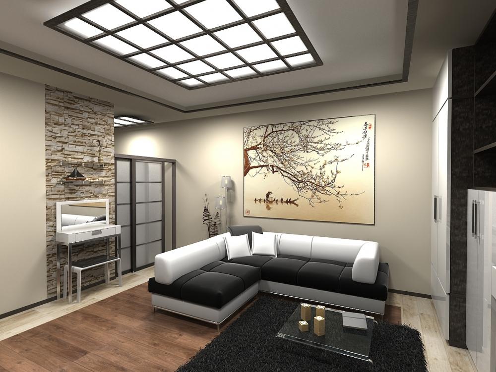 дизайн однокомнатной квартиры 30 кв. м. в японском стиле