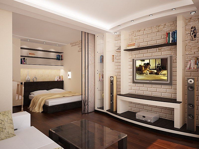 дизайн однокомнатной квартиры в стиле хай-тек
