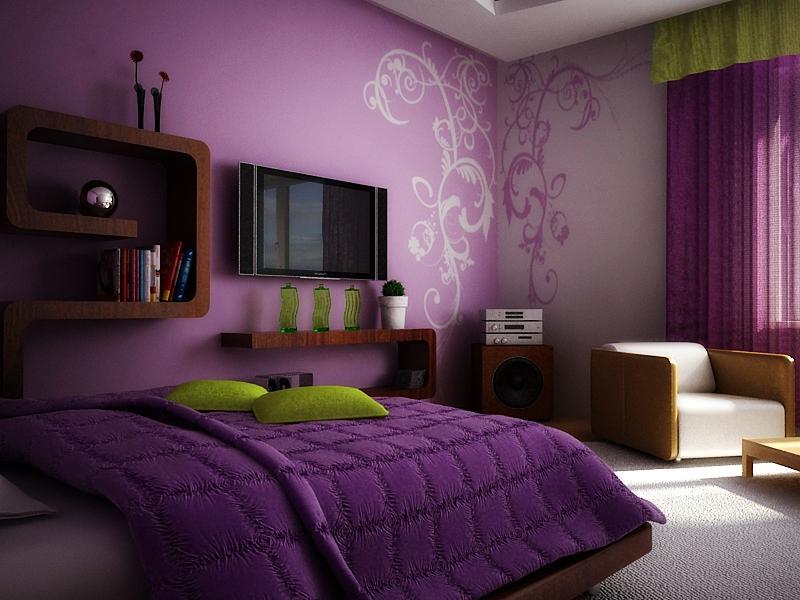 дизайн спальни 12 кв. м. в фиолетовых тонах