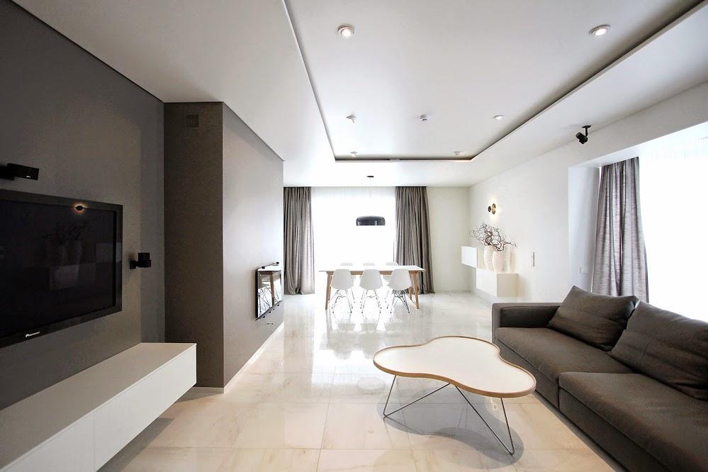 гостиная в стиле минимализм со встроенным освещением
