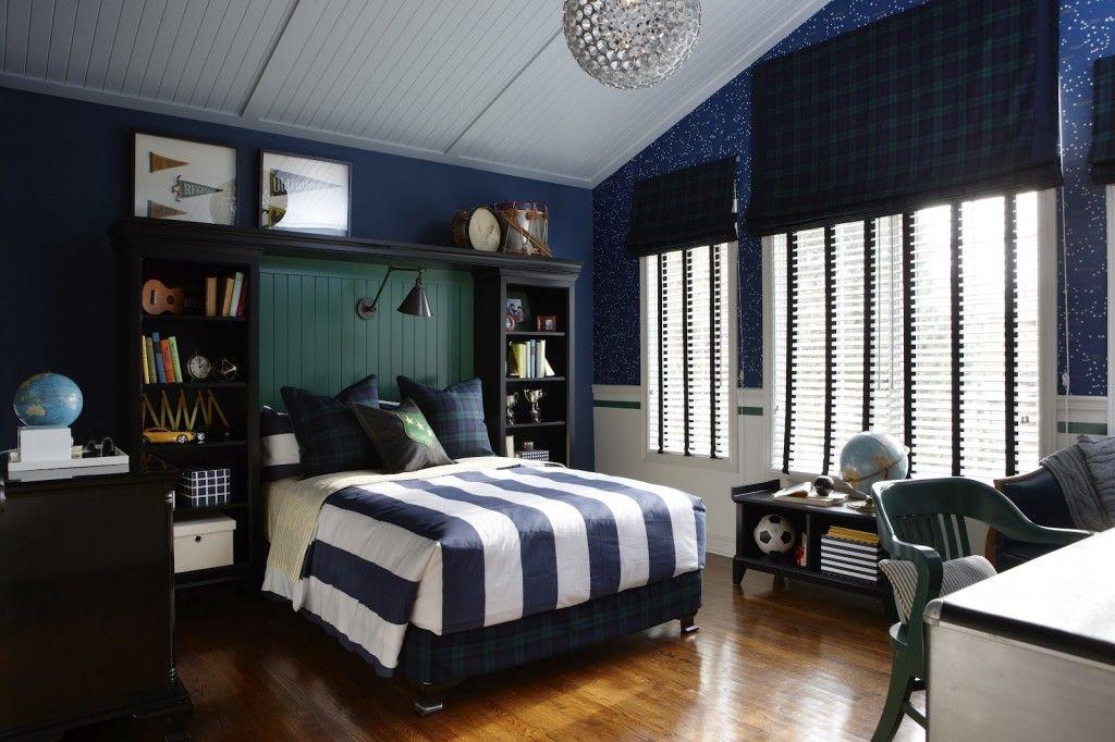 интерьер комнаты для мальчика в синем цвете