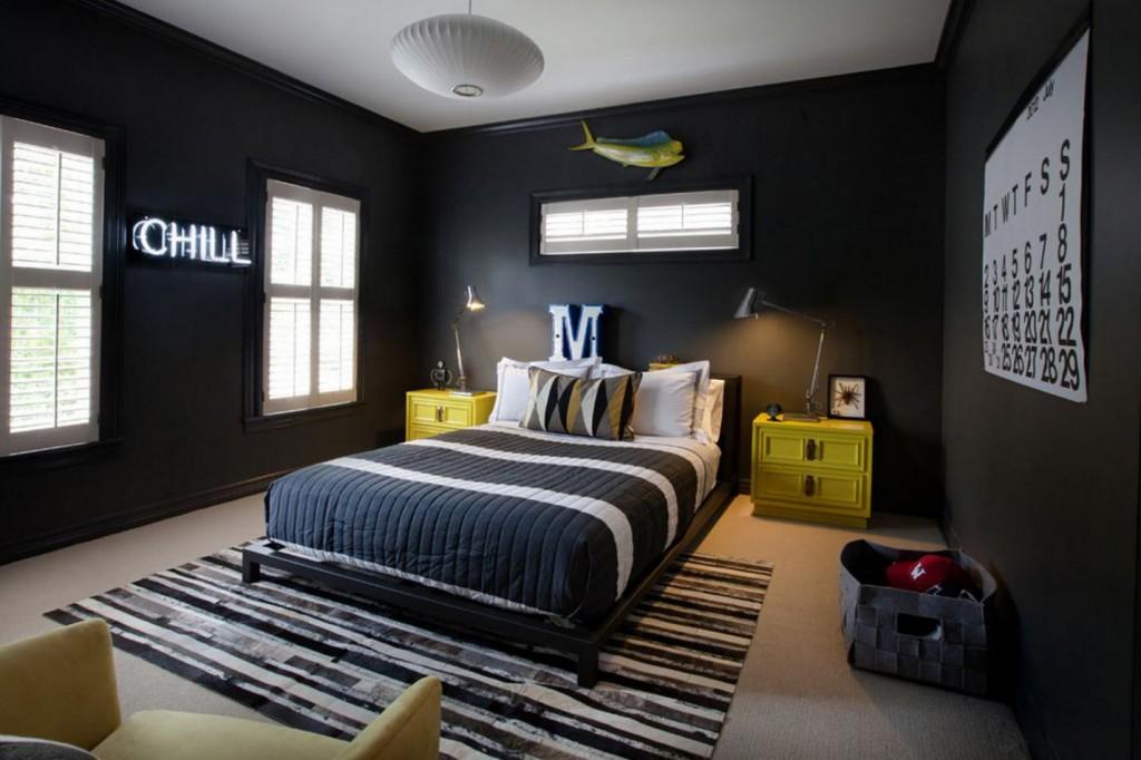 интерьер комнаты для подростка с большой кроватью