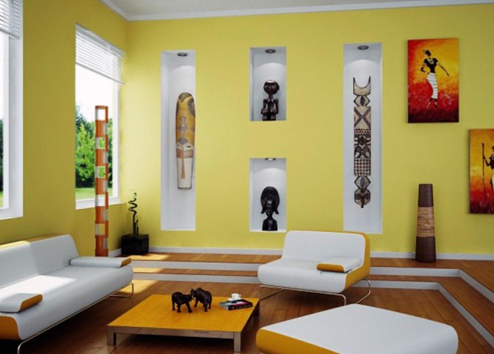 интерьер в африканском стиле с окрашенными стенами