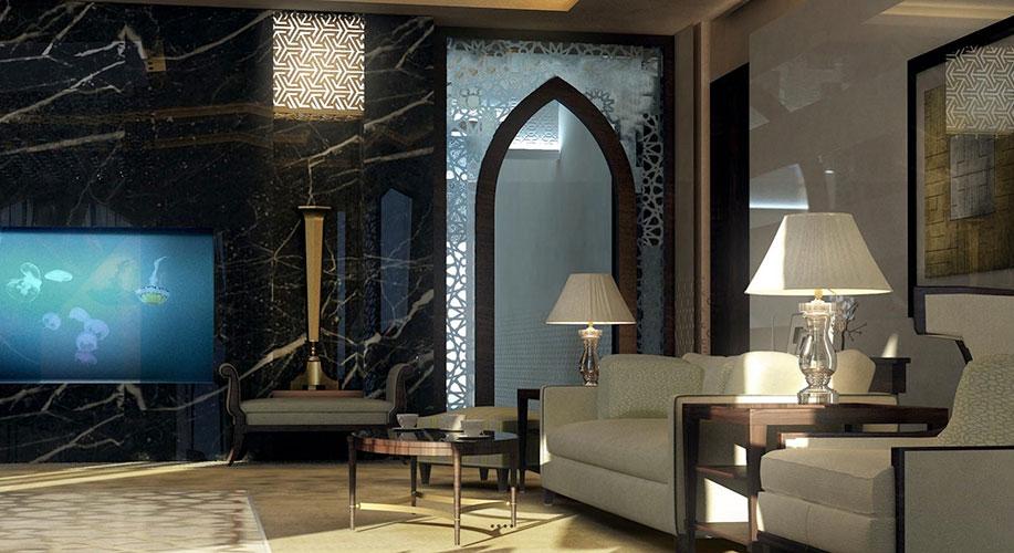 интерьер в марокканском стиле с аркой