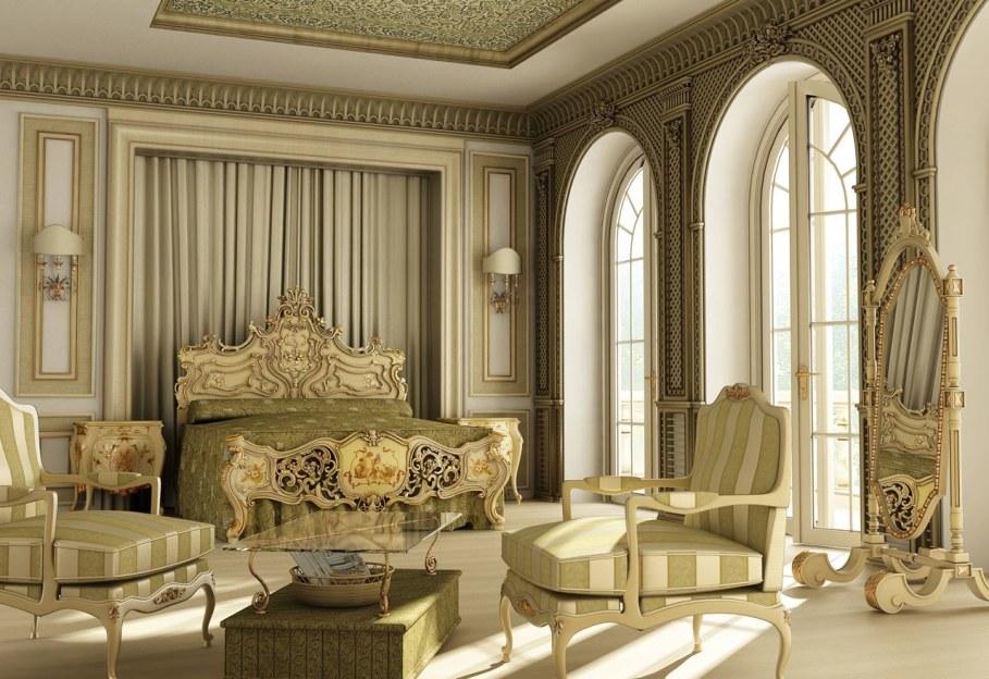 интерьер в стиле рококо с большими окнами