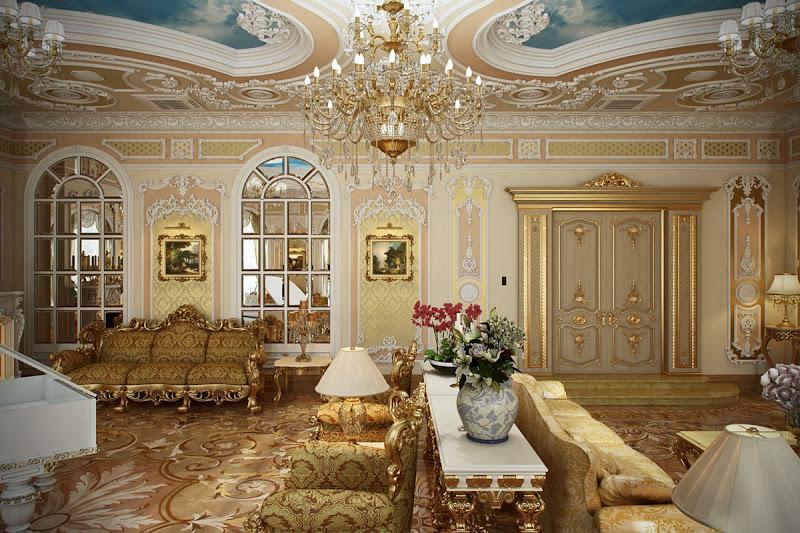 интерьер в стиле рококо с фарфоровой вазой