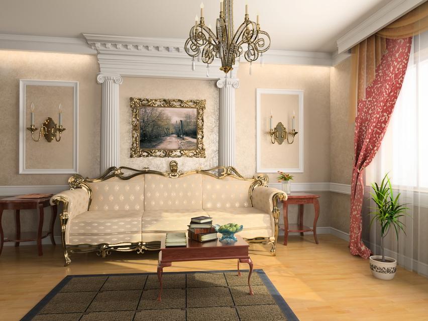 интерьер в стиле рококо с паркетным полом