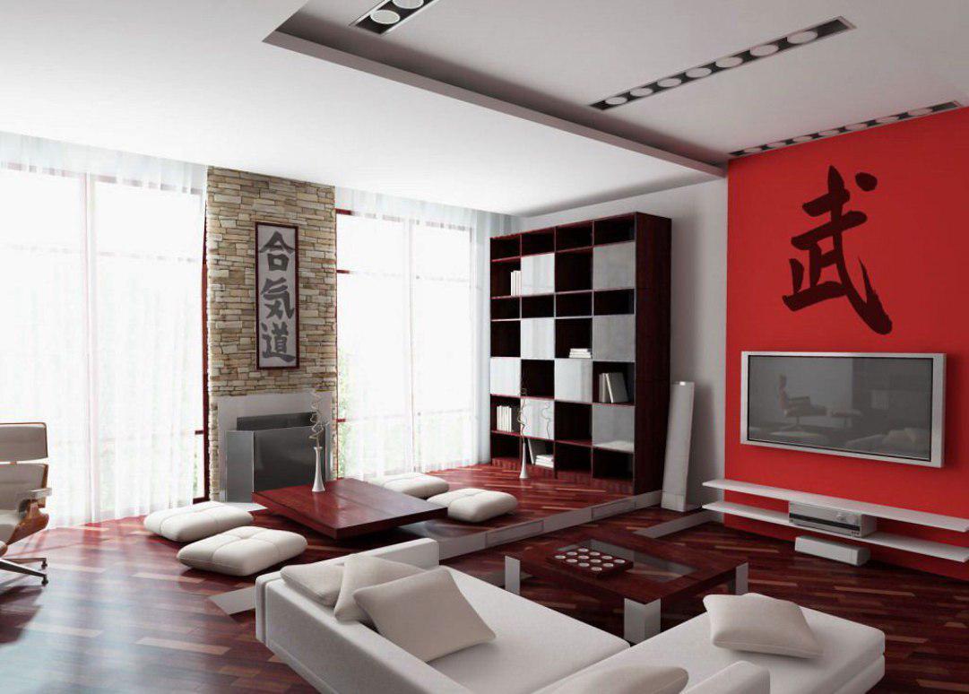 интерьер в восточном стиле с красными оттенками