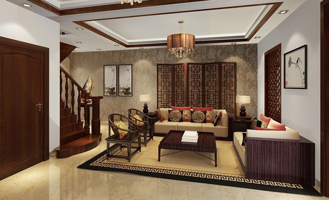 интерьер в восточном стиле с традиционным ковром