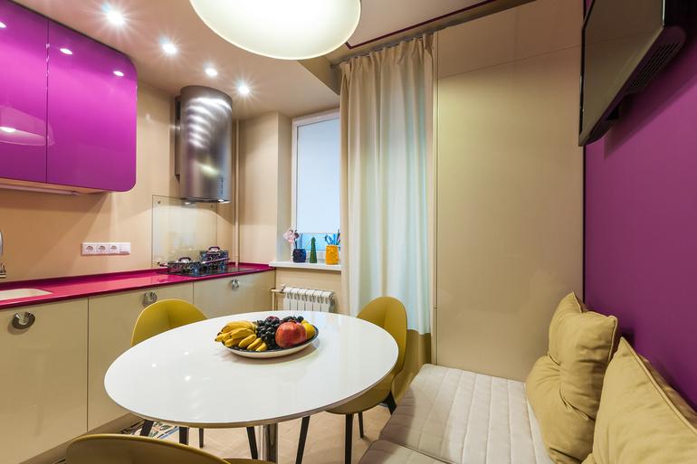 кухня 6 кв. м. с точечным освещением