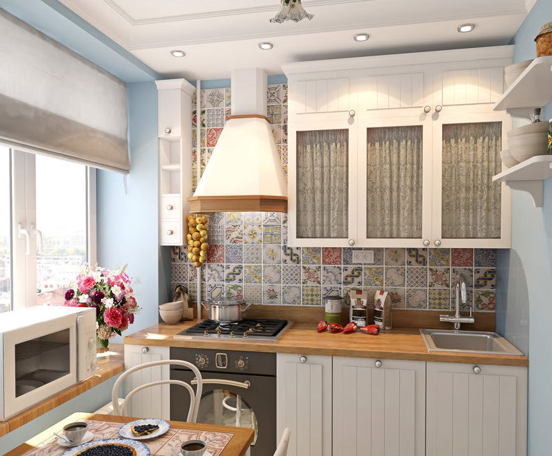 кухня в хрущевке с белым потолком