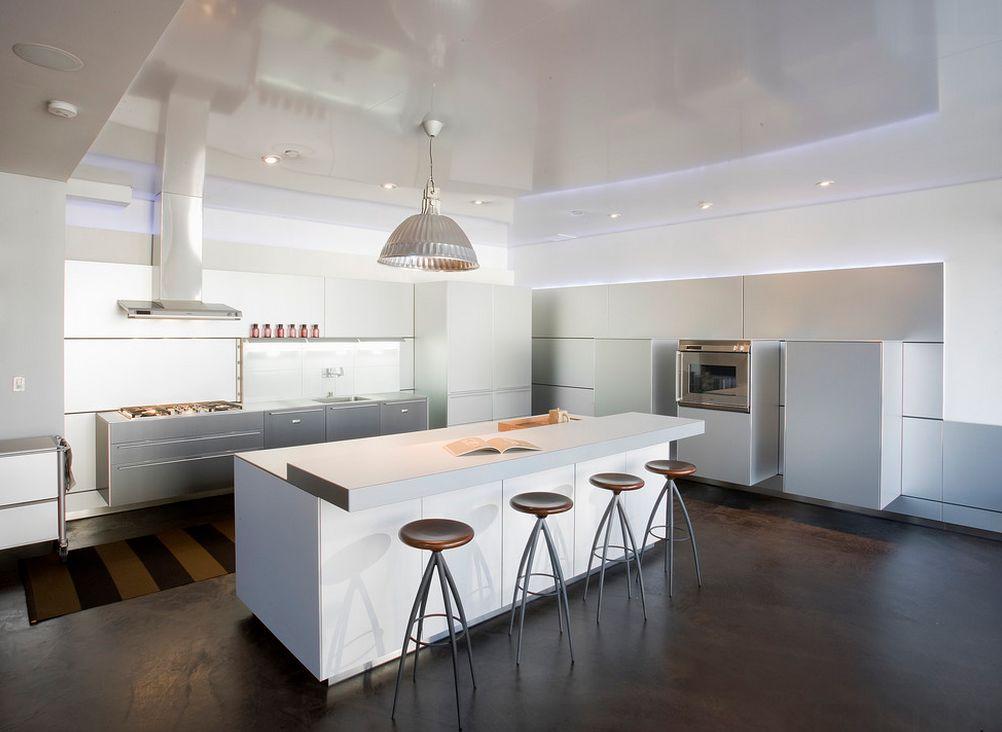 кухня в стиле минимализм со встроенным освещением