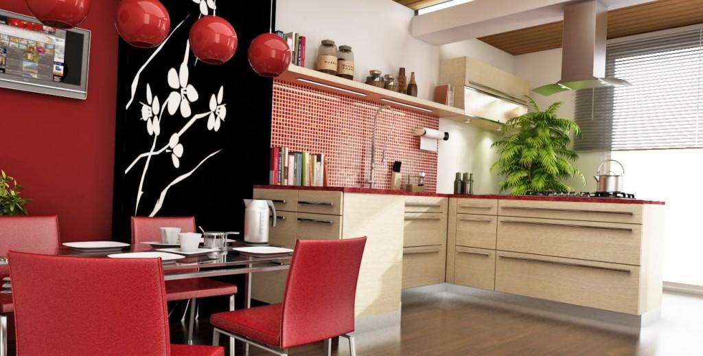 кухня в восточном стиле с декоративной росписью