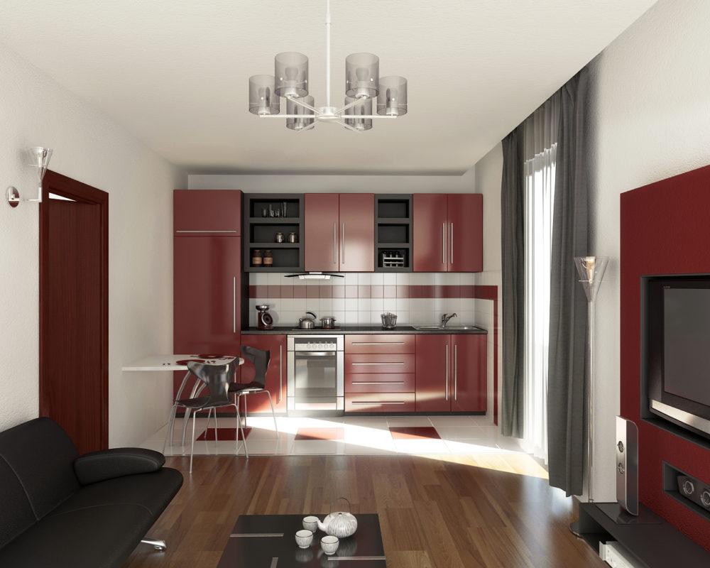 дизайн однокомнатной квартиры с люстрой