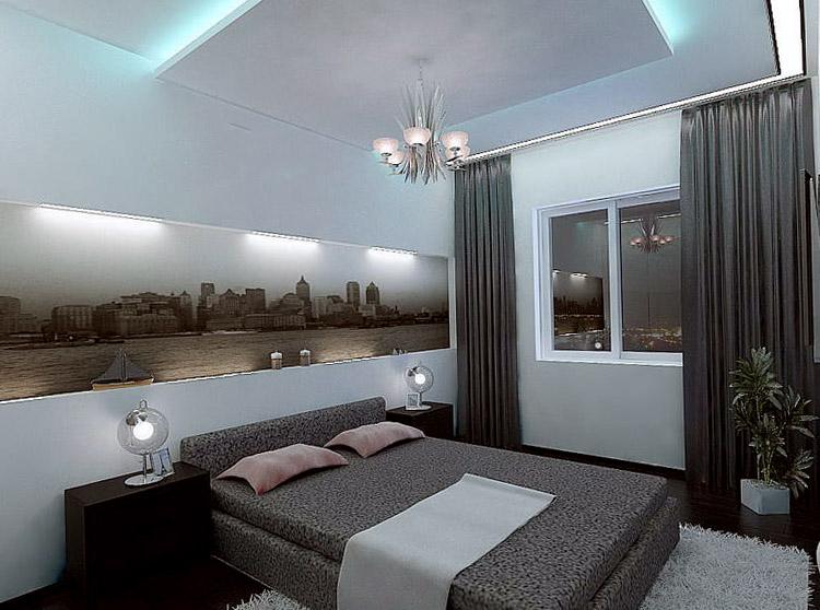 небольшая спальня в стиле хай-тек