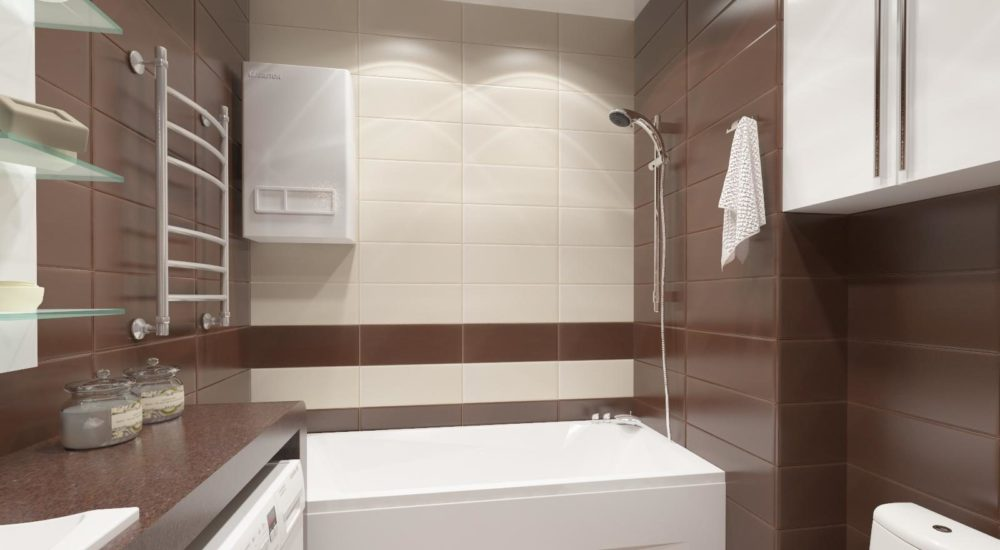 небольшая ванная совмещенная с туалетом со стеклянными полками