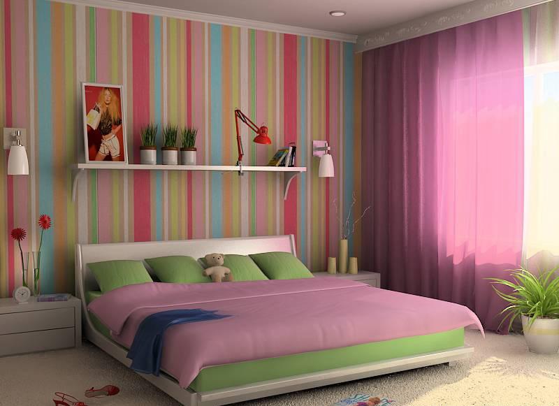 обои с вертикальными полосками в малогабаритной спальне