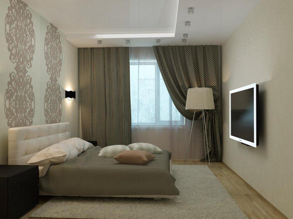 спальня 12 кв. м. с натяжным потолком