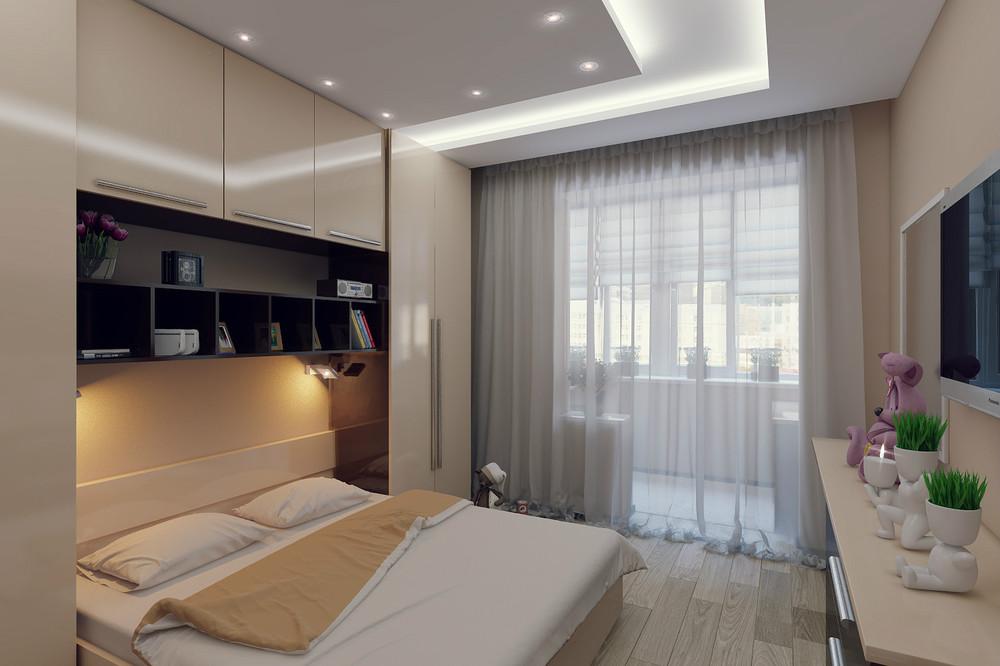 спальня 12 кв. м. с точечным освещением