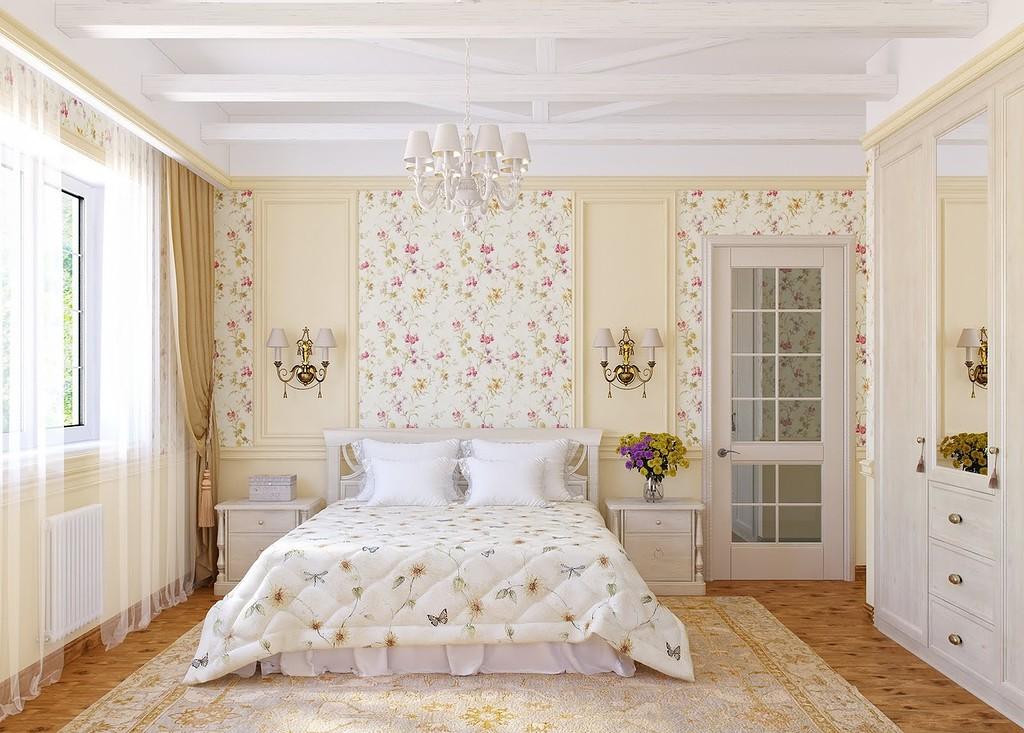 спальня в стиле прованс с цветочными обоями