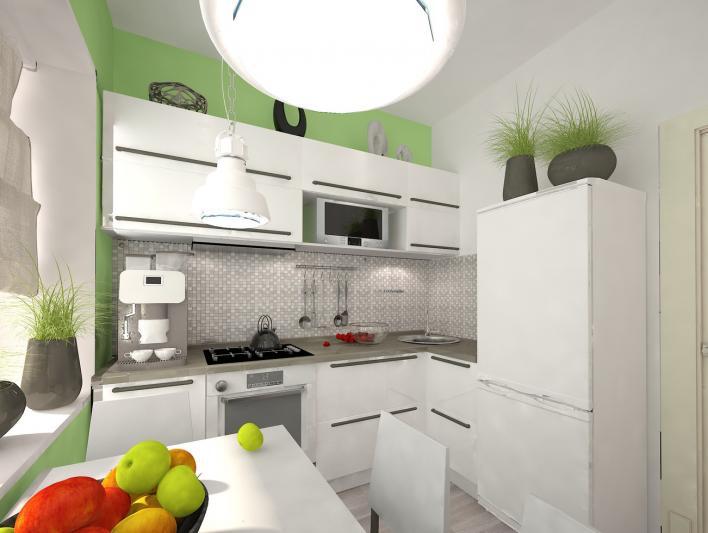 светлая кухня в хрущевке