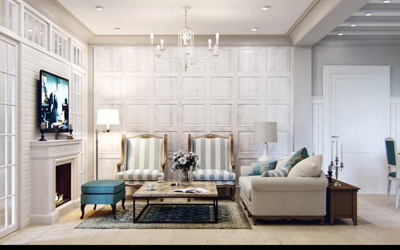 светлый интерьер в стиле прованс с подвесной люстрой